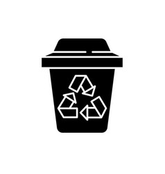 garbage sorting black icon sign on vector image