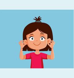 Girl showing her ears cartoon vector
