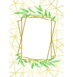 Gold geometric floral invitation vector images over 640 gold geometric frame and greenery vector stopboris Choice Image