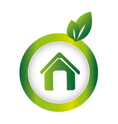 green circular emblem with eco home vector image