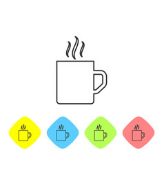 Grey line coffee cup flat icon isolated on white vector