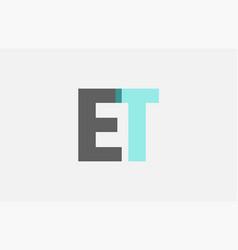 Grey pastel blue alphabet letter combination et e vector