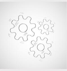 hand drawn three gear wheels vector image