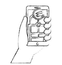 hand holding smartphone gps navigation car road vector image