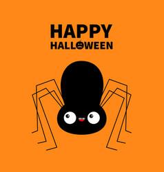 Happy halloween black spider silhouette cute vector
