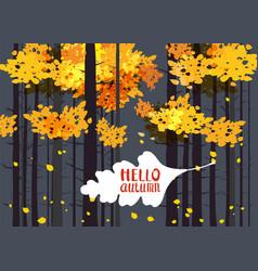 Hello autumn lettering on an autumn leaf fall vector