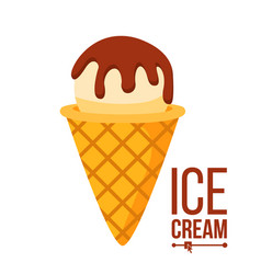 ice cream icon tasty cone with chocolate vector image