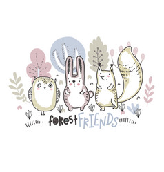 ilustration of cute hand drawn animals vector image