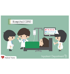 Inpatient department in hospital staff general vector