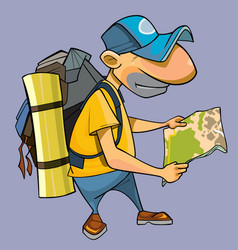 isolated cartoon male tourist looking at the map vector image