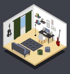 isometric musicians room isometric home vector image