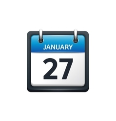 January 27 calendar icon flat vector