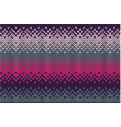 Knitted background in pink and turquoise purple vector