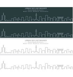 Kyoto single line skyline banner vector