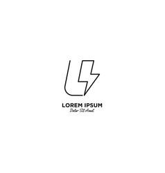 Letter u flash logo design vector