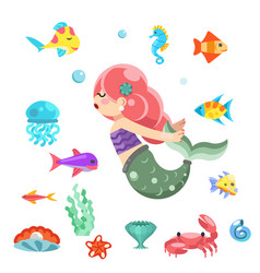 little cute mermaid swimming under the sea fishes vector image