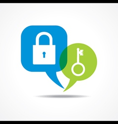 Lock and key in message bubble vector image