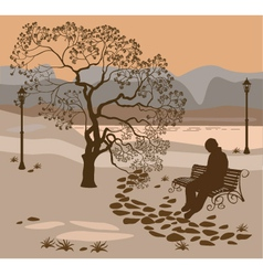 Loneliness a walk in the park man vector