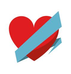 love heart wrap ribbon celebration romantic vector image