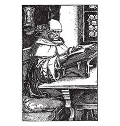 Man reading book older religious vintage engraving vector