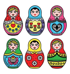 Matryoshka Russian doll colorful icons set vector