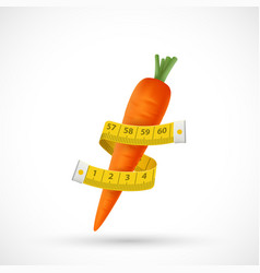 Measuring tailor tape is wrapped around a carrot vector