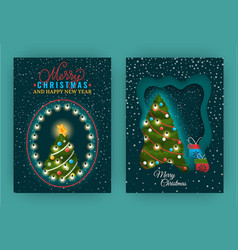 merry christmas and happy new year greeting set vector image