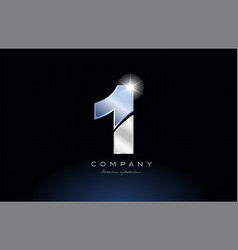 Metal blue number 1 one logo company icon design vector