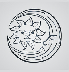 moon and sun tattoo icon logo vector image