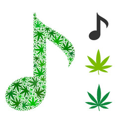 musical note composition of weed leaves vector image