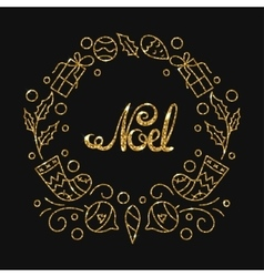 Noel golden lettering design typographic vector