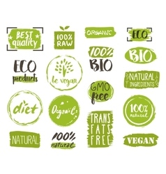 Organic food tags elements and logo vector image