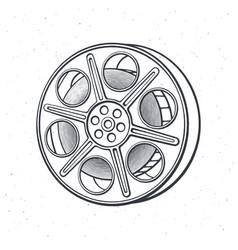 outline film stock vintage camera reel movie vector image