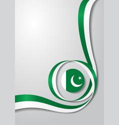 Pakistani flag wavy background vector