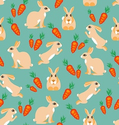 Pattern rabbit jumps sits lies and red carrots vector image