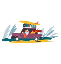 people driving car to seaside van with surfboard vector image