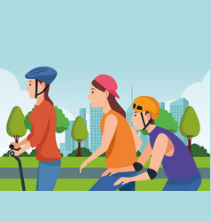 People with scooter and skateboard vector