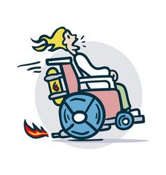 Person on a wheelchair moves quickly vector
