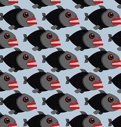 Piranha seamless pattern Many bloodthirsty marine vector