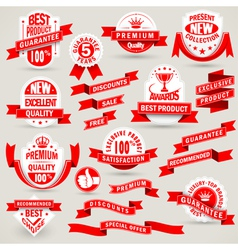 Premium set labels and ribbons vector