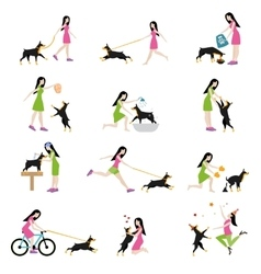 Professional dog walking vector