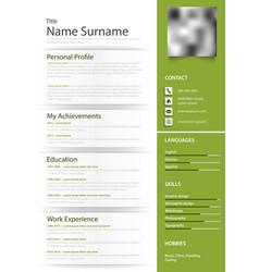 Professional personal resume cv in green design vector