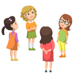 Pupils stand in circle and talking back to school vector
