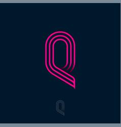 q letter monogram consist thin lines vector image