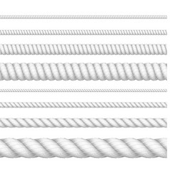 realistic 3d white detailed thickness rope line vector image