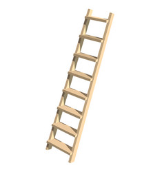 Realistic wooden ladder on a white background vector