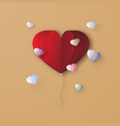 red heart balloon digital papercraft graphic vector image