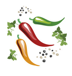 red yellow and green chili peppers green leaves vector image