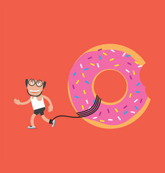 running man with donut health concept vector image