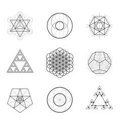 Sacred geometry design elements alchemy vector